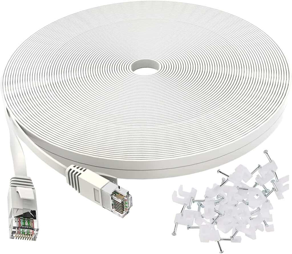 Cat 6 Ethernet Cable 100 ft Flat White